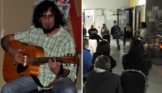 Indigenous Artist Brett Clarke entertaining the students at Gnurad-Gundidj